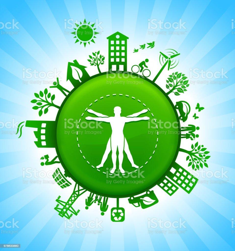 Ilustración de Anatomía Humana Medio Ambiente Botón Verde Fondo De ...