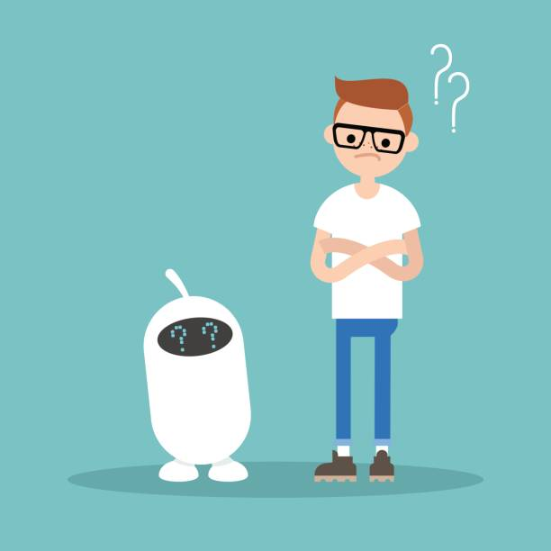 human and artificial intelligence trying to answer a question  / flat editable vector illustration, clip art - communication problems stock illustrations, clip art, cartoons, & icons