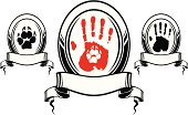 Human and dog hand print in frame with banner