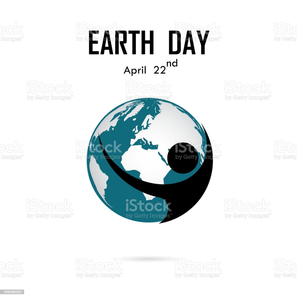 human and globe icon vector logo design templateearth day campaign