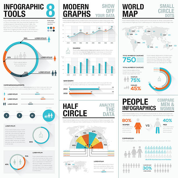 human and people infographic vector elements blue and red color - demographics infographics stock illustrations, clip art, cartoons, & icons