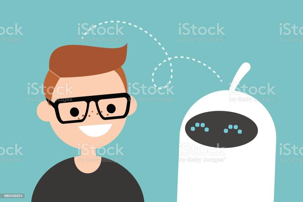 Mensch Und Roboter Kommunikation Neue Technologien Flach ...
