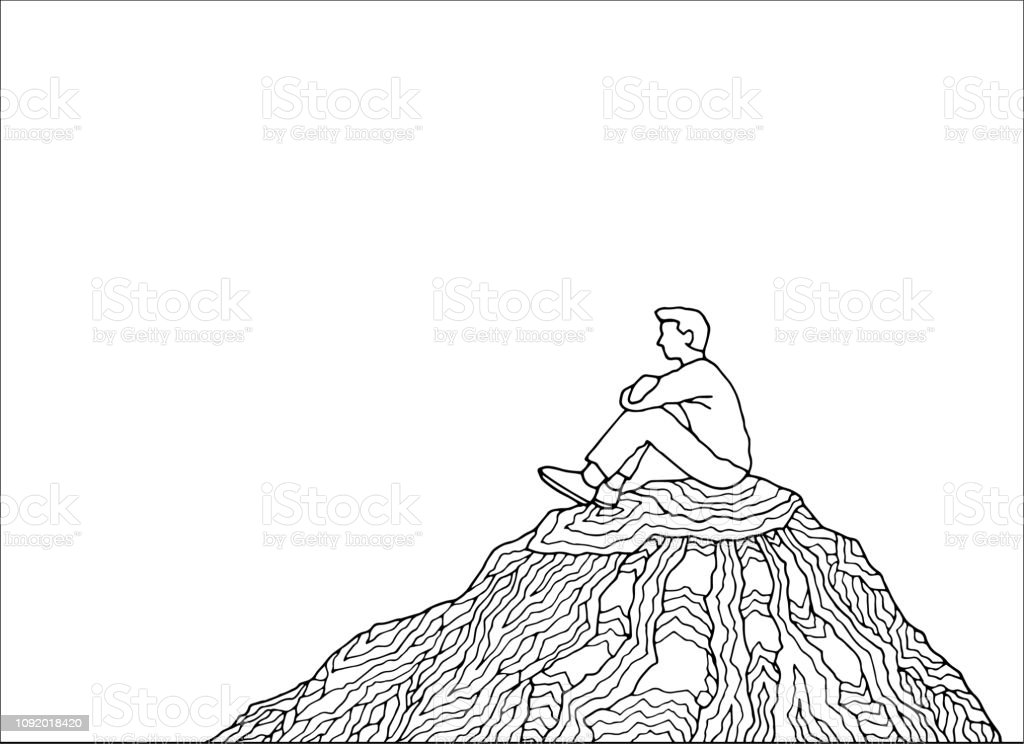 Mensch und Geist Energie macht abstrakte Kunst Vektor Illustration Design Handzeichnung – Vektorgrafik
