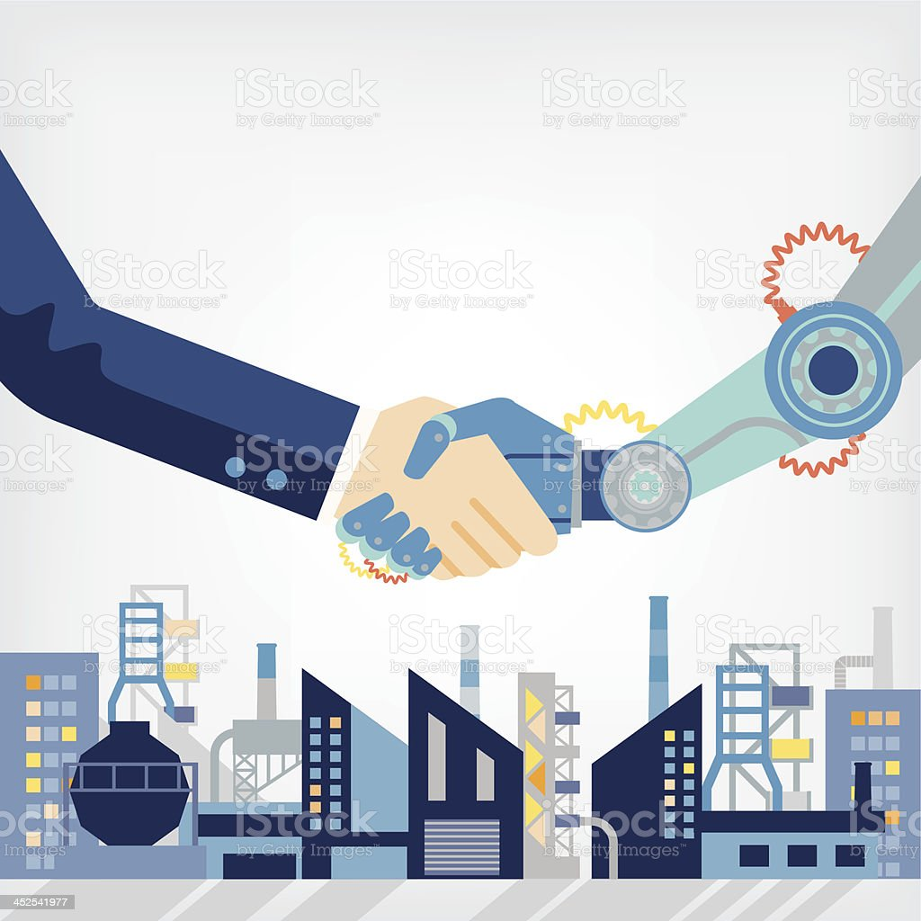 human and technology vector art illustration