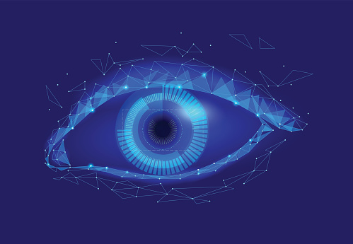 510584002 istock photo Human android cyborg eye futuristic control protection personal internet security access.Concept robot dna system, future scientific technology innovation science. Blue polygonal vector 841873354