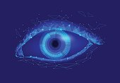 Human android cyborg eye futuristic control protection personal internet security access.Concept robot dna system, future scientific technology innovation science. Blue polygonal vector
