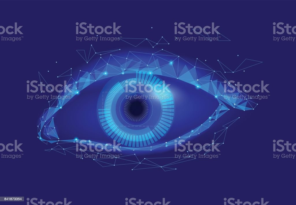 Human android cyborg eye futuristic control protection personal internet security access.Concept robot dna system, future scientific technology innovation science. Blue polygonal vector vector art illustration