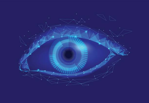 human android cyborg eye futuristic control protection personal internet security access.concept robot dna system, future scientific technology innovation science. blue polygonal vector - крупный план stock illustrations