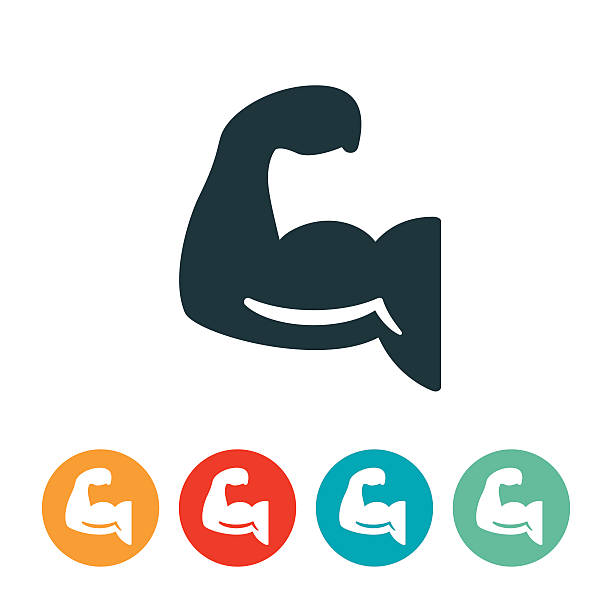 Human Arm Flexing Icon An icon of a human arm being flexed. The icon can be used to symbolize muscle strength and overall fitness. stiff stock illustrations