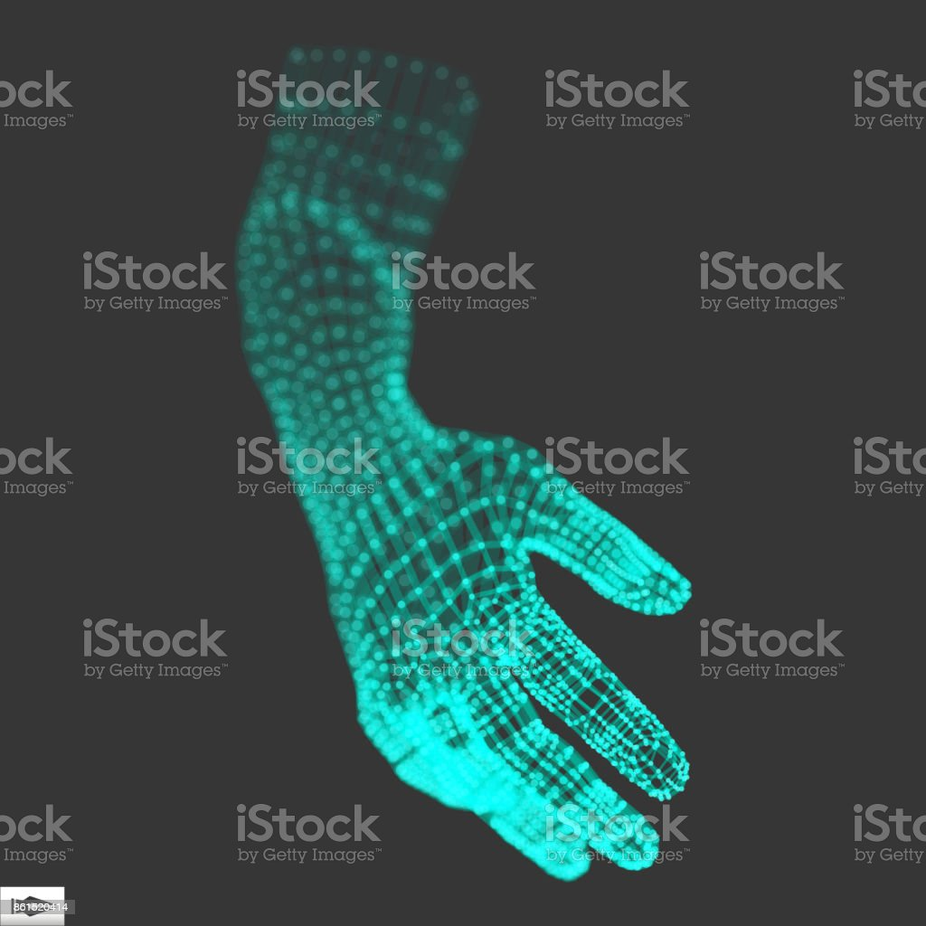 Human Arm. Human Hand Model. Hand Scanning. 3d Covering Skin vector art illustration