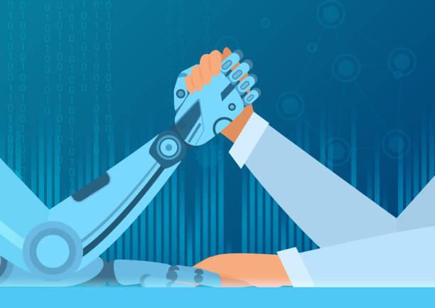 bildbanksillustrationer, clip art samt tecknat material och ikoner med mänskliga armbrytning med robot. kampen man vs robot. artificiell intelligens vektor illustration koncept. - människoarm