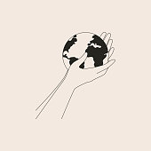 Human arms holds small Earth with care and love. Strong female hands support planet. Vector black and white illustration of Earth day and saving planet. Environment conservation concept