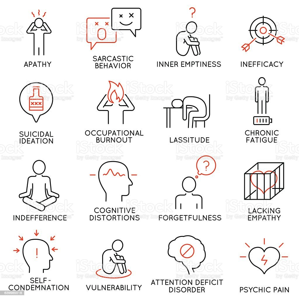 Human behavior and mental conditions icons vector art illustration