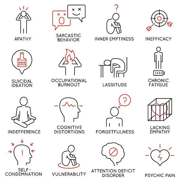 human behavior and mental conditions icons - stress stock illustrations, clip art, cartoons, & icons