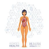 Female human body and internal organs