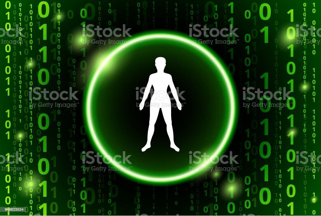 Ilustración de Cuerpo Humano Código Binario Vector De Fondo y más ...