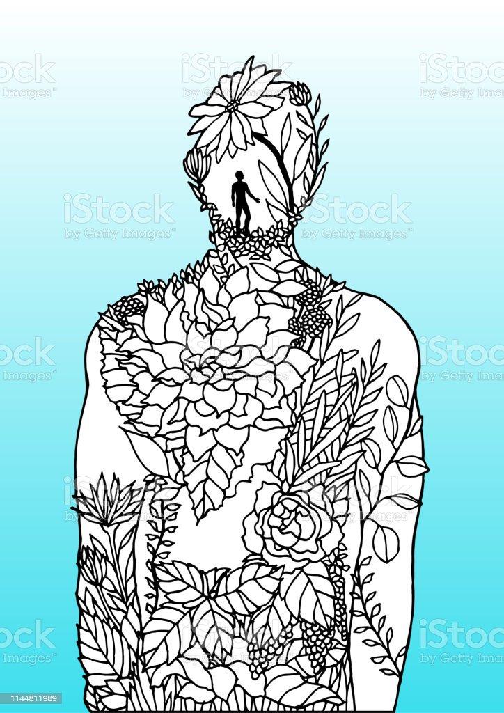 Human Body Flower Man Inside Spirit Power Energy Vector