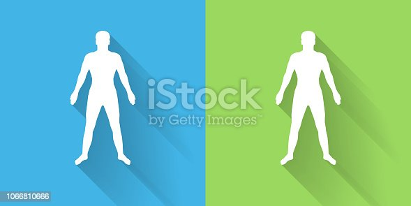 Human Body Icon with Long Shadow. The icon is on Blue Green Background with Long Shadow. There are two background color variations included in this file. The icon is rendered in white color and the background is blue or green. There is also a 45 degree long shadow.