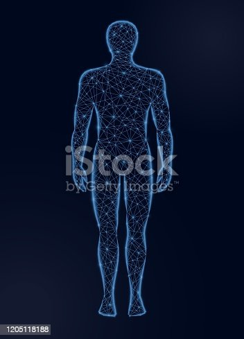 istock Human body low poly vector illustration on dark background. Medicine, science and technology concept. 1205118188