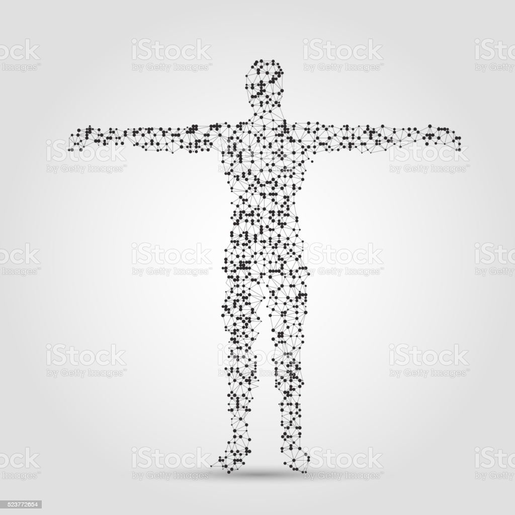 human body made of dots and lines. vector art illustration