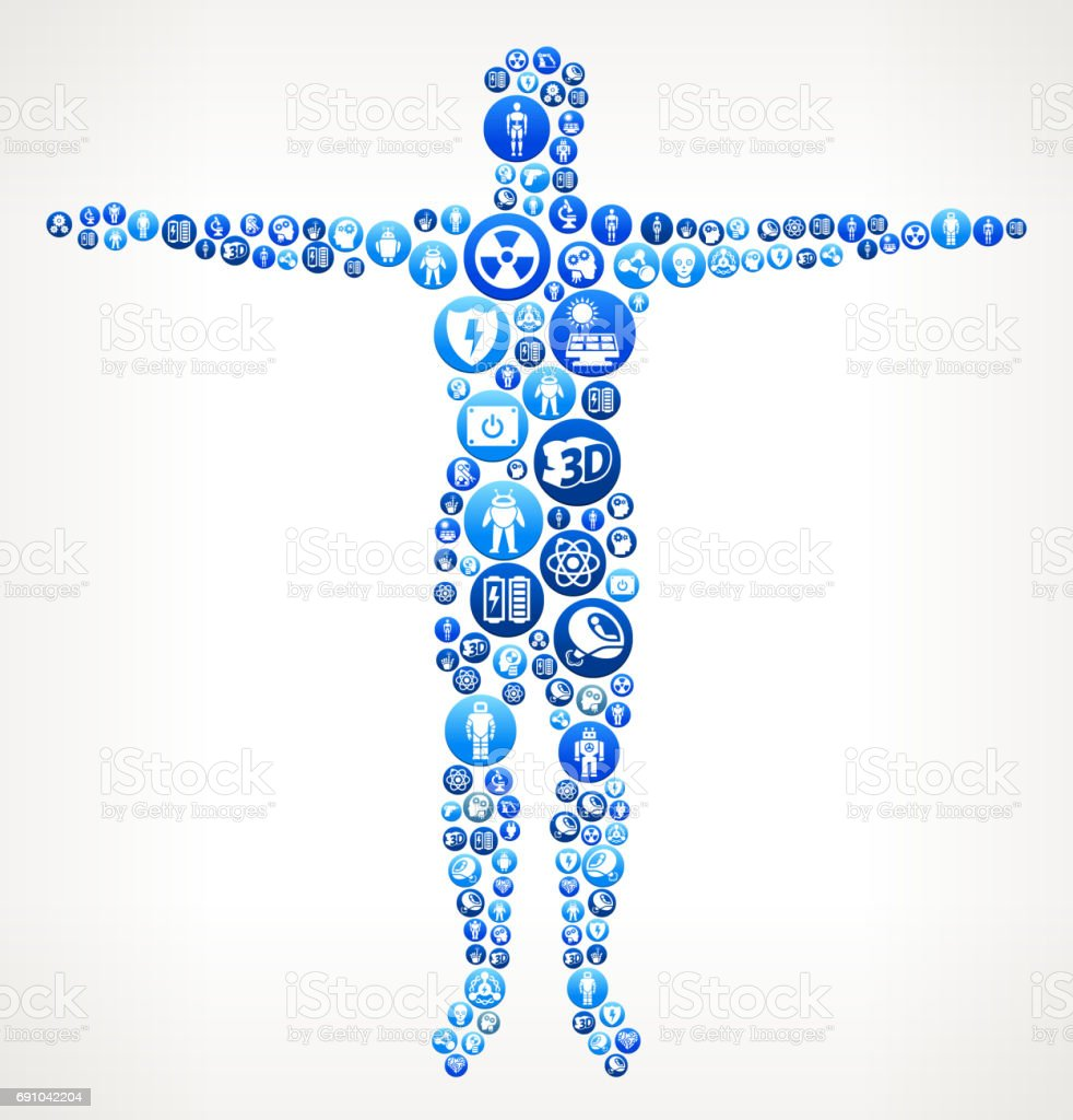 Human Body Robots and Robotics Vector Button Pattern vector art illustration