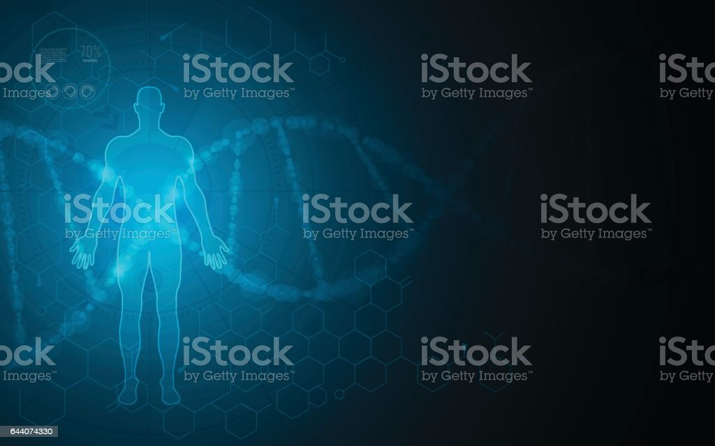 human body scanning hi tech innovation health care concept background vector art illustration