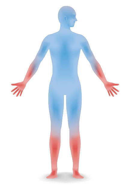 human body silhouette and sensitivity to cold vector art illustration