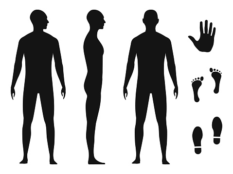 Human body silhouette of a bald naked barefoot adult male. Palm hand, bare feet and shoe trace