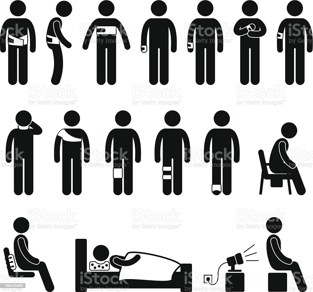 Human Body Support Equipment For Injury and Pain Pictogram vector art illustration