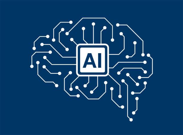 ilustraciones, imágenes clip art, dibujos animados e iconos de stock de concepto de inteligencia artificial y cerebro humano - ai