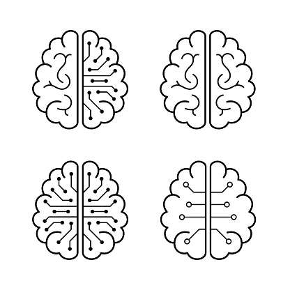 human brain and artificial intelligence concept