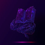 Human brain and book low poly wireframe illustration