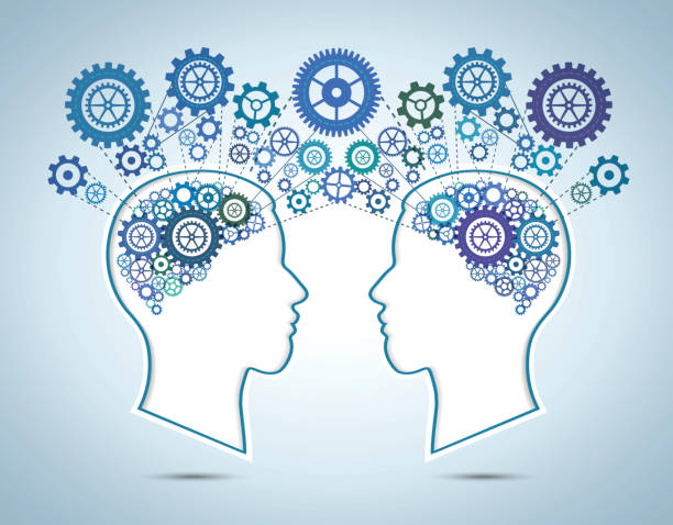 human brain and communication concept - two people talking stock illustrations, clip art, cartoons, & icons