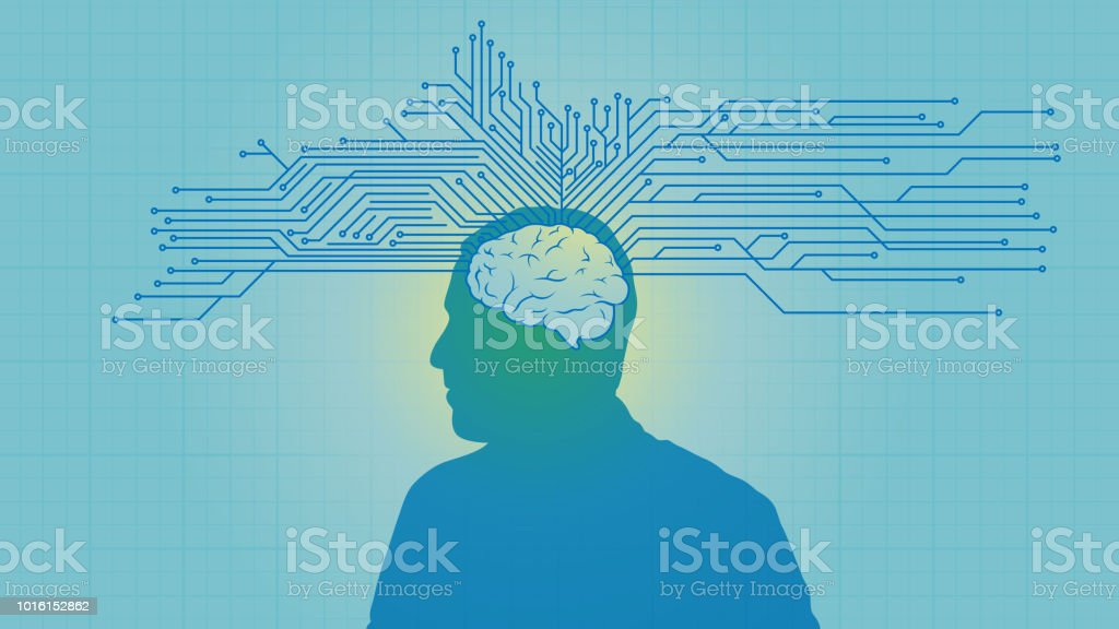 İnsan beyni devre sistemi vektör sanat illüstrasyonu