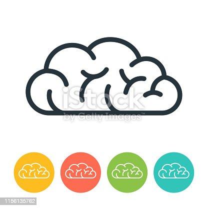 Human brain cloud icon - vector illustration