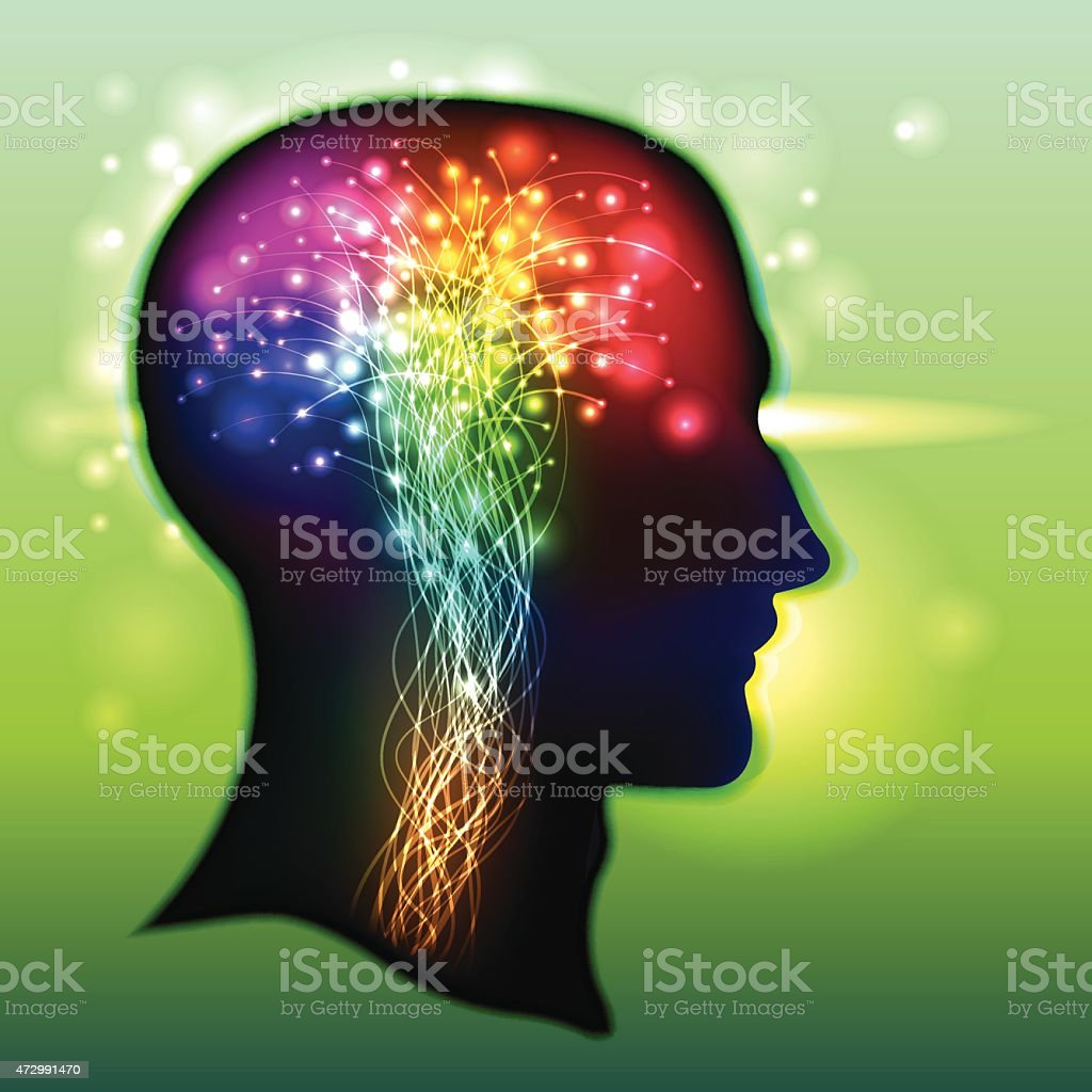 Human Brain Color of Neurons vector art illustration