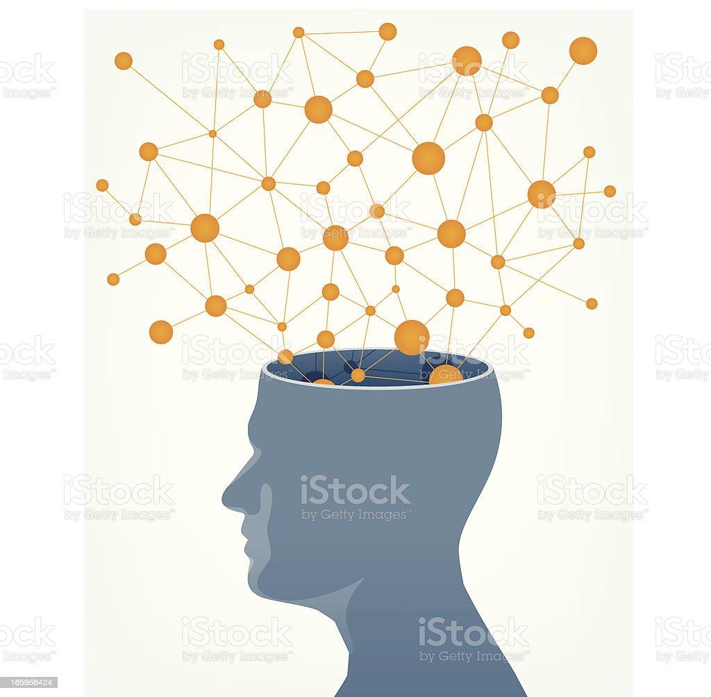 Human brain connectivity vector art illustration