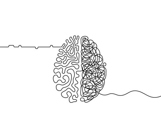 인간의 두뇌 창의력 대 논리 혼돈 과 연속 라인 드로잉 개념을 주문 - brain stock illustrations