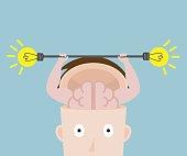 human brain exercise with fresh bulb idea vector illustration