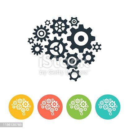 Human brain gear icon - vector illustration