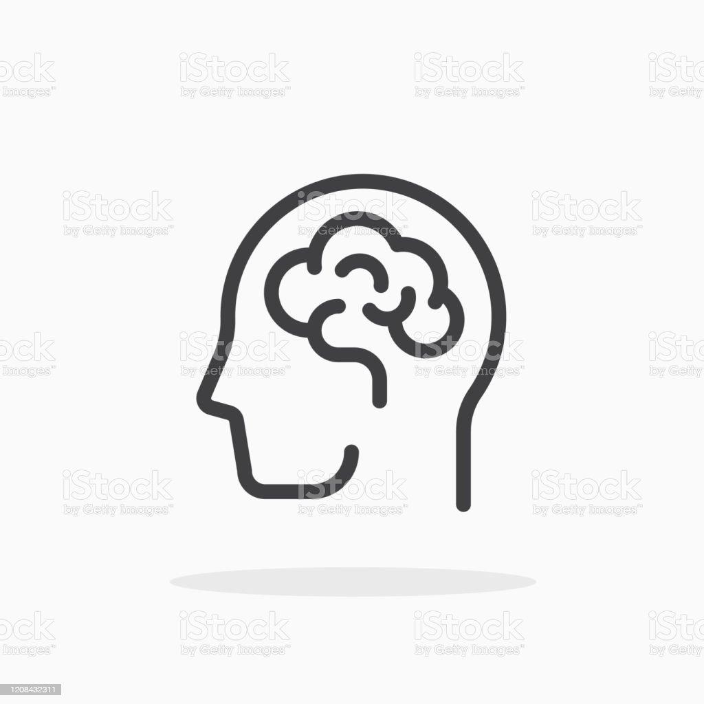 Human brain icon in line style. - Векторная графика Анатомия роялти-фри