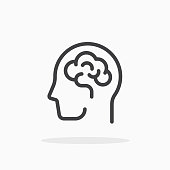Human brain icon in line style. For your design, logo. Vector illustration. Editable Stroke.
