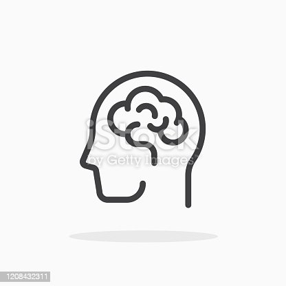 Human brain icon in line style. For your design, logo. Vector illustration. Editable Stroke.