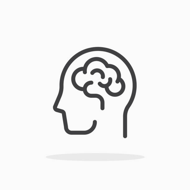 ilustrações, clipart, desenhos animados e ícones de ícone do cérebro humano no estilo de linha. - cabeça