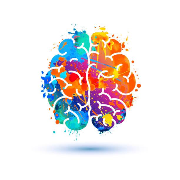 Human brain icon. Splash paint Human brain icon of watercolor splash paint creative occupation stock illustrations
