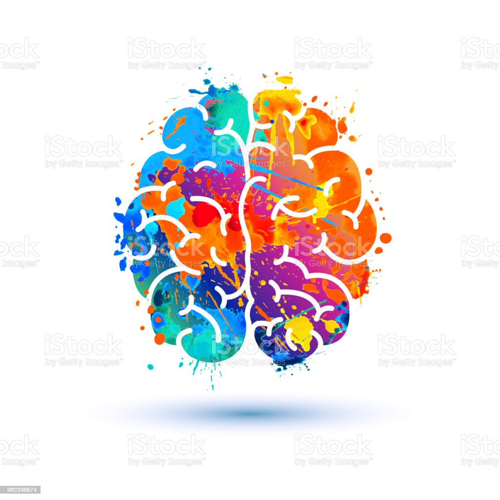 Human brain icon. Splash paint vector art illustration