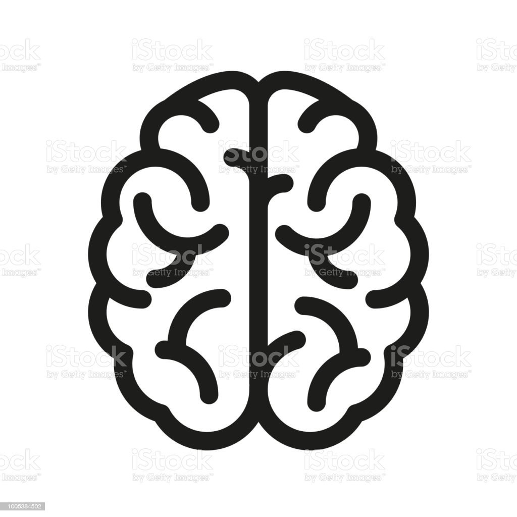 Human brain icon - vector vector art illustration