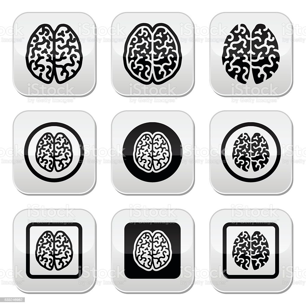 Human brain icons set - intelligence, creativity concept vector art illustration