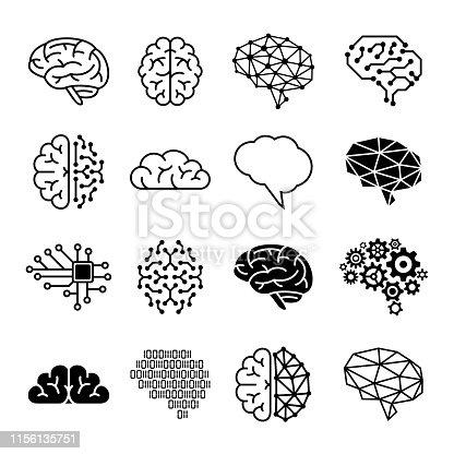 Human brain icons - vector illustration