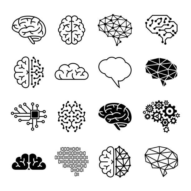 ilustraciones, imágenes clip art, dibujos animados e iconos de stock de iconos cerebrales humanos - ilustración vectorial - brain